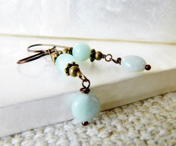 Amazonite Vintage Earrings Blue Dangle Drop by MsBsDesigns on Etsy, $26.00