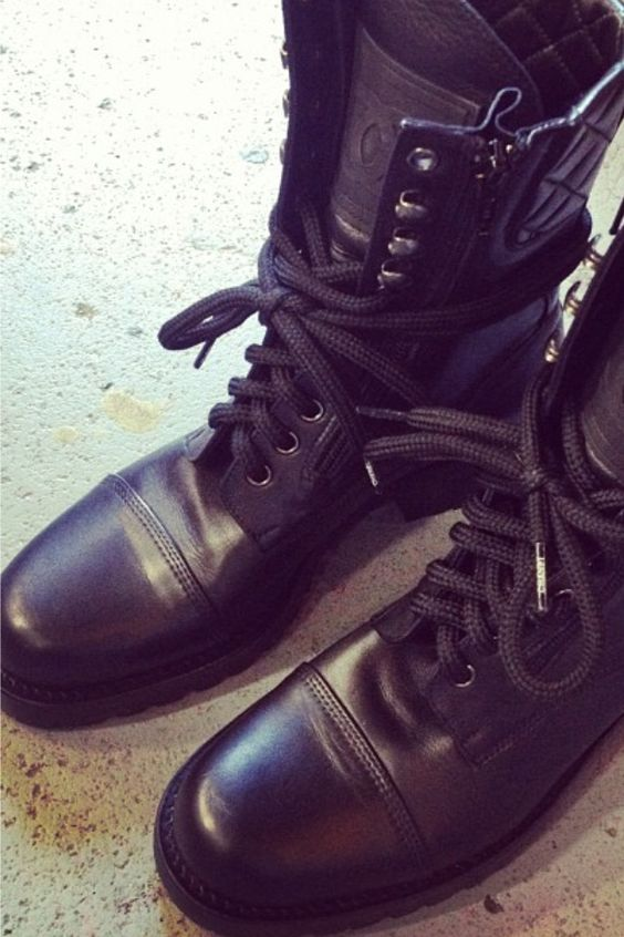 Chanel combat boots....my latest Chanel purchase..or should I say ONE of my latest!   :)