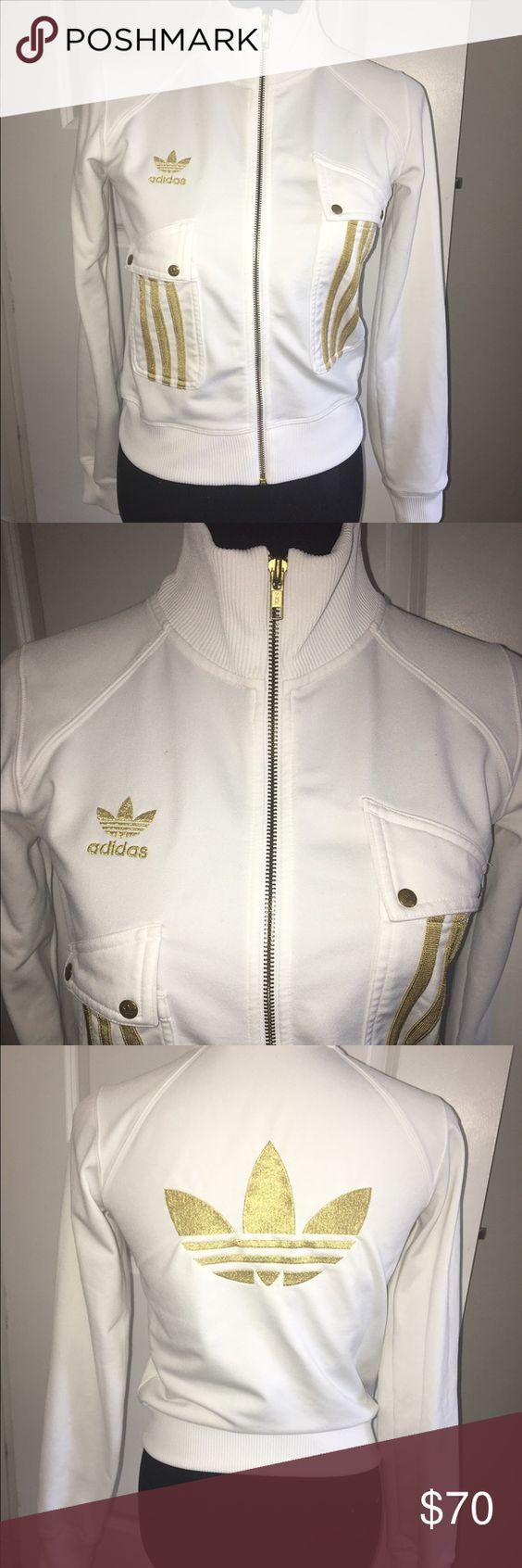 Adidas Jacket Very soft, in excellent condition white/gold jacket! Sold out! Retail:$169 Adidas Jackets & Coats Vests