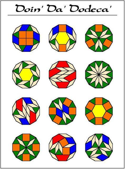 Imagen procedente de mathforum.org Distintas formas de hacer un dodecágono con Pattern Blocks (no están todas las soluciones posibles) #Geometría #Pattern_Blocks  #bloques_geométricos #geometry
