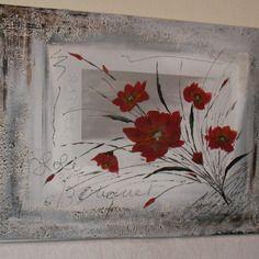 Tableau bouquet abstrait rouge sur fond d grad gris tableau fleur pinterest boutiques - Modele peinture acrylique debutant ...