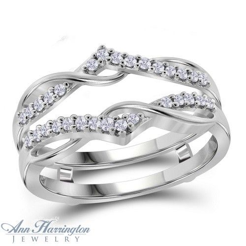 10k White Gold 1/4 ct tw Diamond Antique Style Ring Guard, J3107