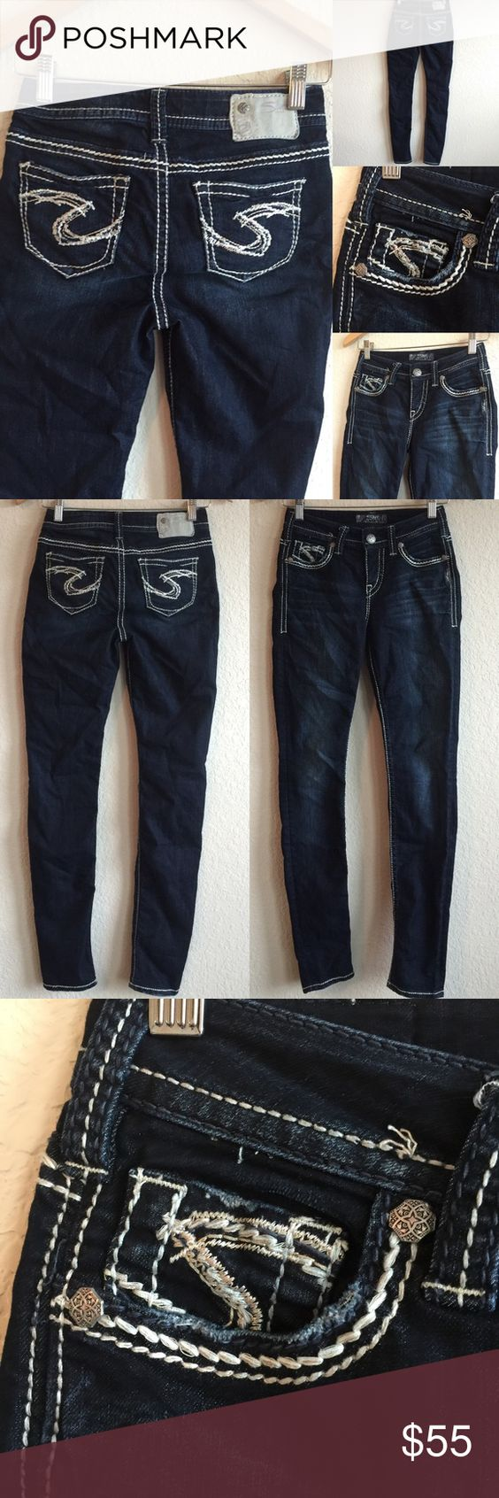 SILVER 💗 Super Skinny Jeans, Dark Sz Excellent pre-loved condition!  Would be gorgeous with boots, heels, or flats!  💗💗💗 Silver Jeans Jeans Skinny