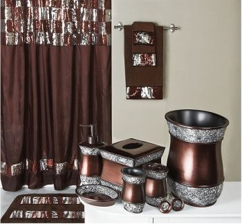 elite sequined bronze bath collection features a shower