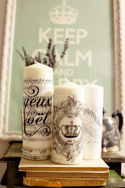 Decorate candles using paper. Love!