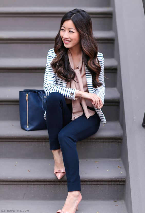 classic business casual outfit for the office // striped cotton blazer, navy sloan pants, bow tie blouse, nude pumps