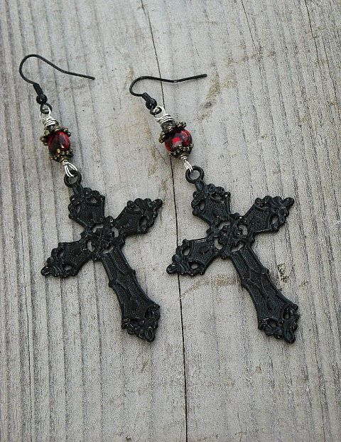 Large Black Victorian Gothic Cross Earrings with Black & Red Beads by InkandRoses13
