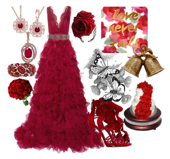 Crimson Wedding by ruaorlia13 on Polyvore featuring Marchesa, Giuseppe Zanotti, Annina Vogel, Effy Jewelry, Gerber, women's clothing, women's fashion, women, female and woman