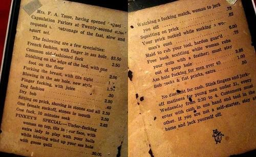 NWS: Old brothel price list, date unknown.
