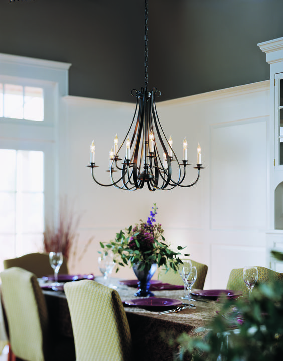 Hubbardton Forge Sweeping Taper 9 Light Chandelier