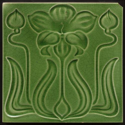 TH2810-Antique-Art-Nouveau-Majolica-Flower-amp-Buds-Tile-Rd-1905