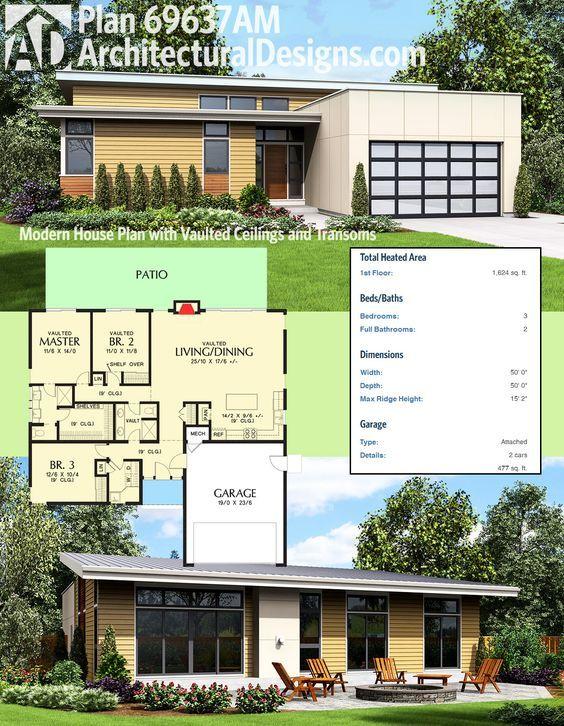 Plan 69637am Modern House Plan With Vaulted Ceilings And Transoms Modern House Plan Modern House Plans Modern House Design