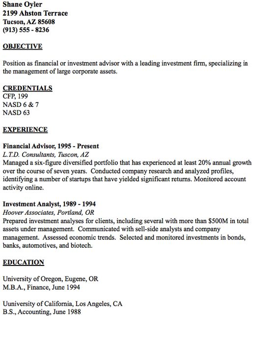 Example of Financial Advisor Resume - http\/\/resumesdesign - resume for financial advisor