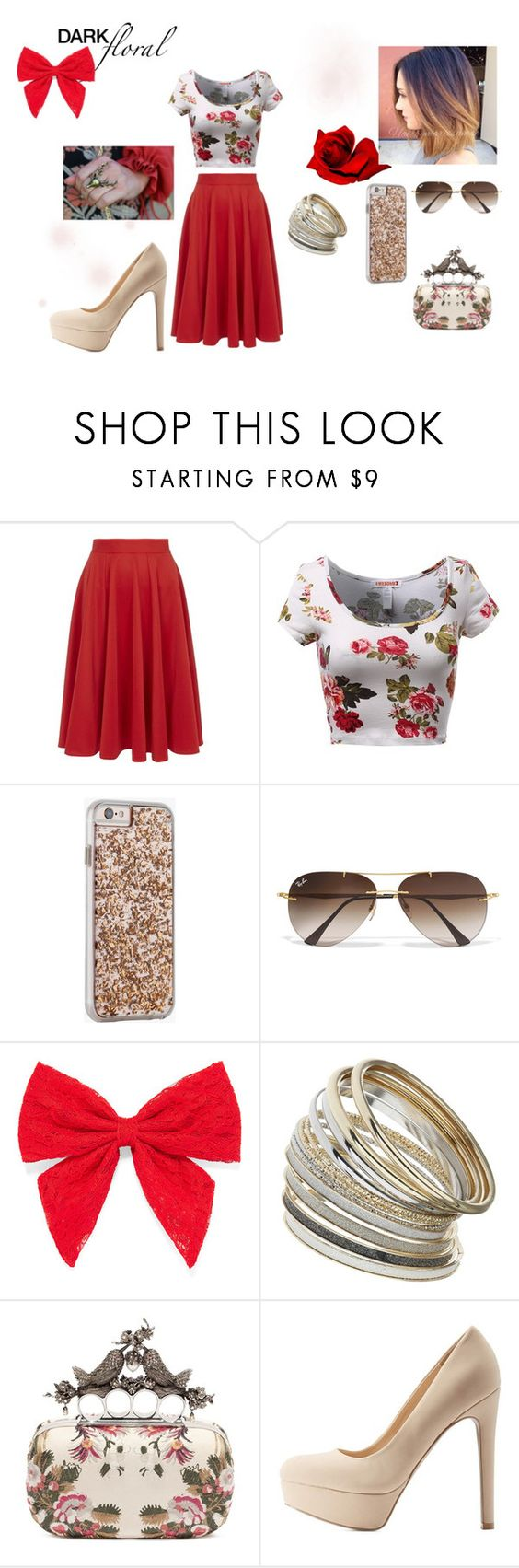 """""""floral"""" by geek-from-hell on Polyvore featuring Closet, Case-Mate, Ray-Ban, Carole, Miss Selfridge, Alexander McQueen, Qupid, women's clothing, women's fashion and women"""