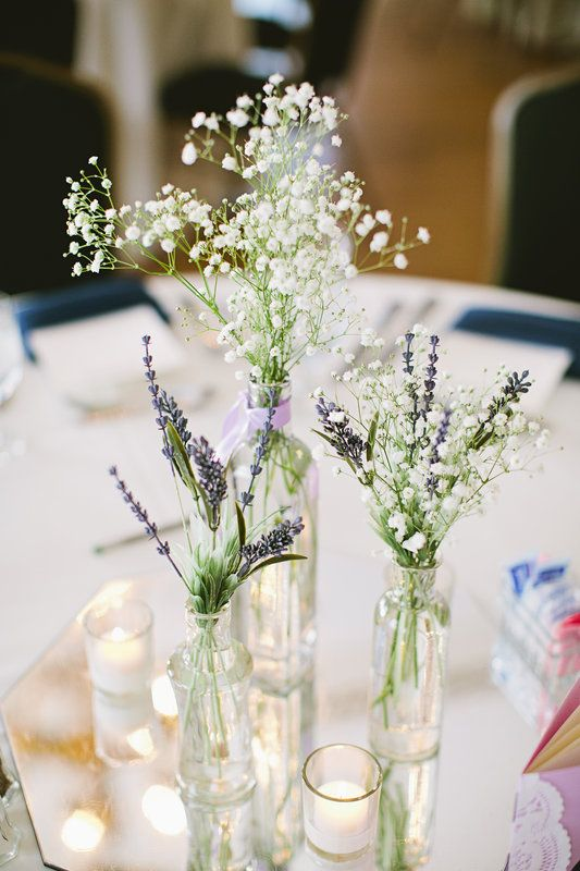 Baby s breath and lavender in bud vases centerpieces will