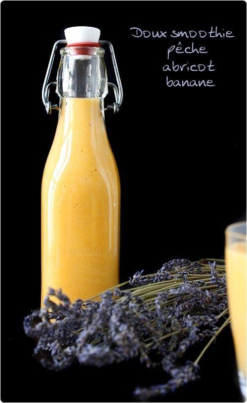 Smoothie péche, abricot et banane (possible avec fruits en boite) : Abricots, pêches, banane, jus d'orange ou lait