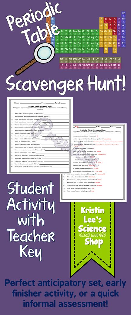 Periodic Table Scavenger Hunt - Middle School Science Class Activity. This 20 question scavenger hunt has students navigate themselves around the information available on the periodic table.  Compatible with most textbook versions of the periodic table.  This activity makes a great anticipatory set, early finisher activity, or quick informal assessment.  Available in Kristin Lee's Science (and more!) Shop on TeachersPayTeachers.
