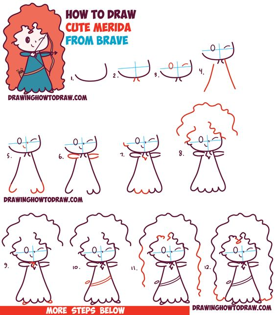 How to draw cute kawaii chibi merida from disney pixar 39 s for How to draw things step by step for kids