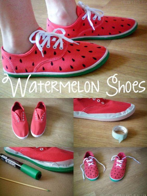 DIY watermelon shoes / tuto chaussures pastèque (en français)!