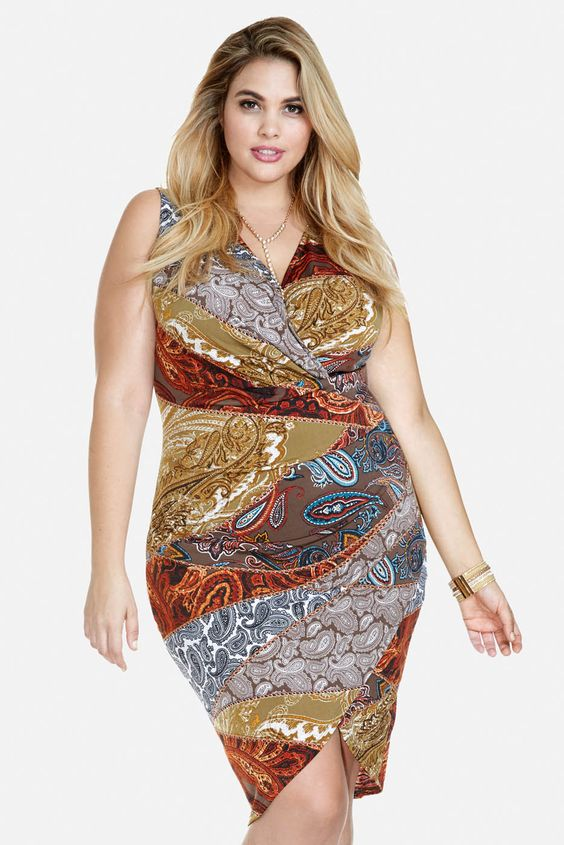 plus size lula paisley asymmetric dress | fashion to figure