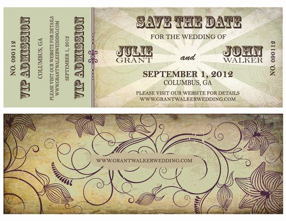 Wedding Save the Date Concert Ticket for Organic Wedding, Music - concert ticket invitations