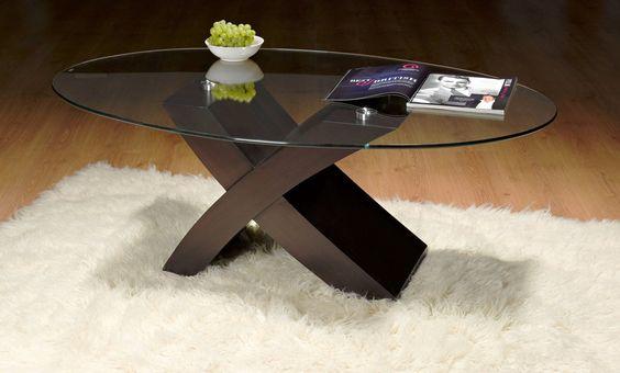 Milano X Coffee Tables - Oval Glass (Dark Brown)