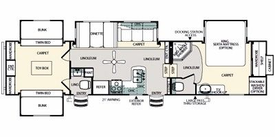 2011 Sandpiper by Forest River Fifth Wheel Series M-355QBQ Floorplan, Prices, Values & Specs - NADAguides