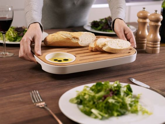 Slice & Serve Bread and Cheese Board with Condiment Dish - $25