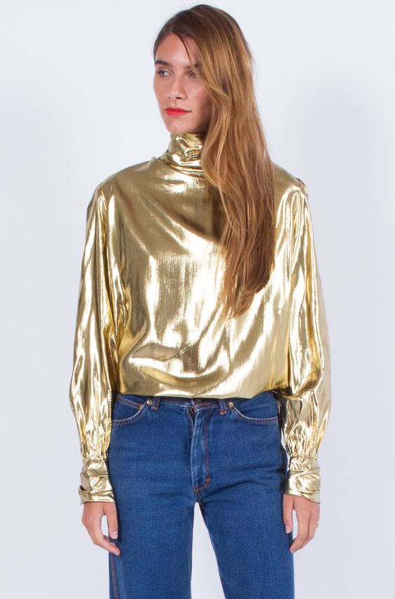 Amazing gold lamé blouse (medium-large):