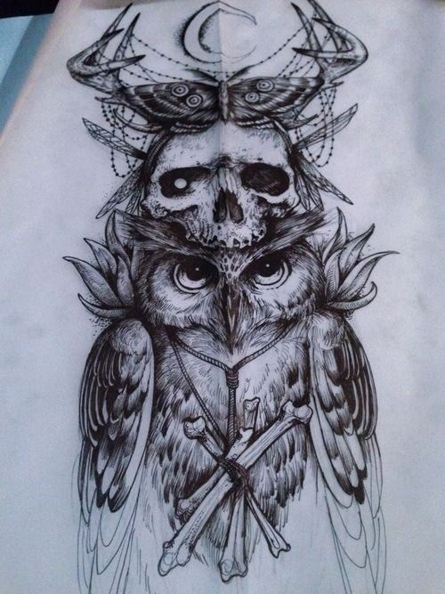 Like the skull, butterfly, and antlers..but the owl not so much..