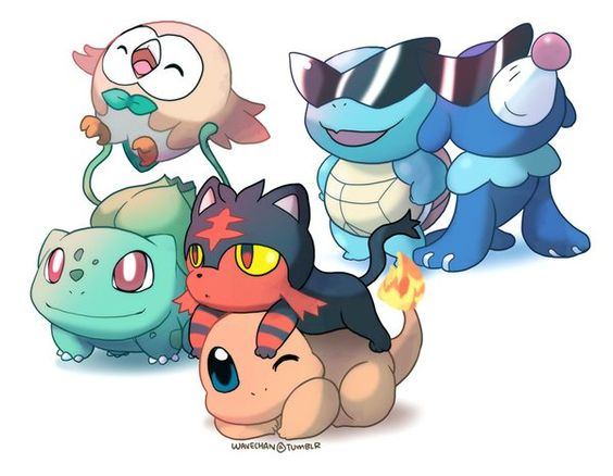 Pokemon sun and moon starters with their originals. Credit to original author