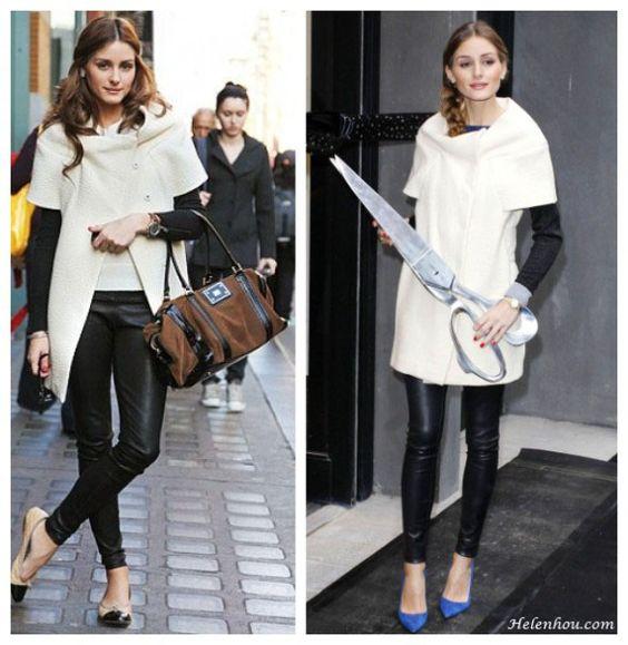 Olivia Palermo white short sleeve coat how to wear a short
