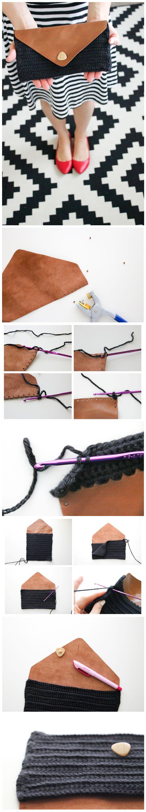 DIY crocheted leather flap clutch   ////   pochette cuir et crochet