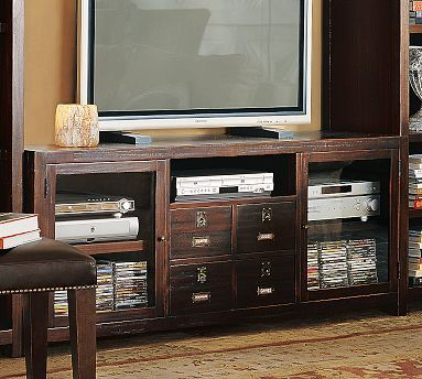 pottery barn rhys large tv stand special sale 999 for the home pinterest tvs cabinets. Black Bedroom Furniture Sets. Home Design Ideas