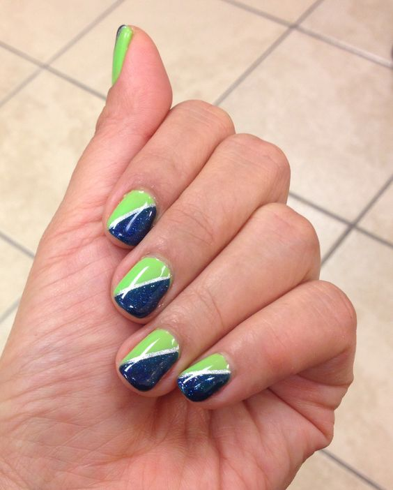 """""""Sometimes  Girls Gotta Glow"""" and """"Holiday Party Blues"""" by Gelish Harmony.    Seahawks inspired color."""