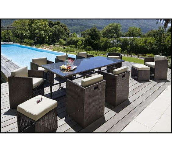 Carrefour ensemble table et 8 fauteuils de jardin set riverside wicker en aci - Salon de jardin en resine carrefour ...