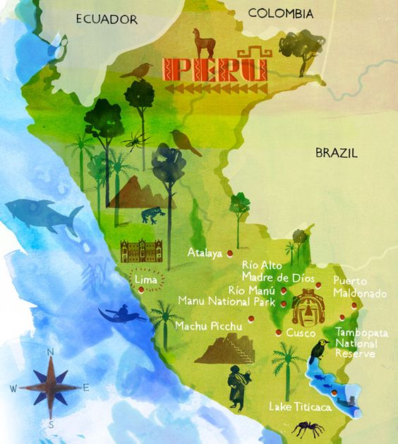 National Geographic Traveller Illustrated Map of Peru Pretty – Tourist Map Of Peru