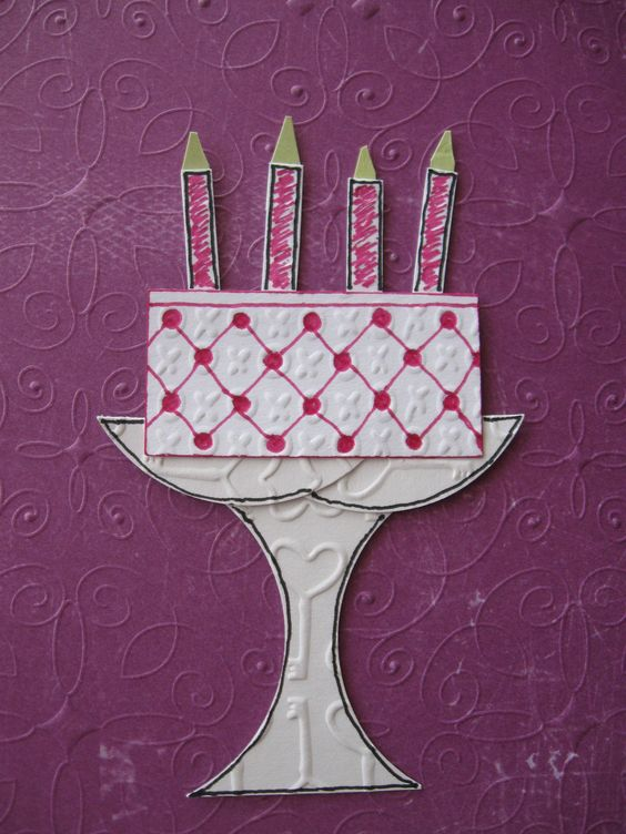 """Cake made w/ Creative Memories Shape Maker System w/ 2"""" Square & & 2"""" Circle Cartridges, punch 2 squares, then take a """"bite"""" from each side of 1 square creating your stand, then use 2 """"bites"""" as your plate.  Cut other square in 1/2 for cake & use other 1/2 for candles or cute into 2 pieces to make a layered cake."""
