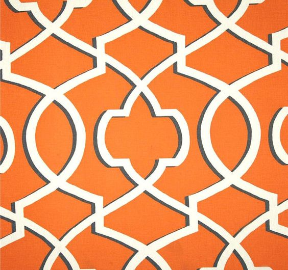 orange pewter grey white modern geometric fabric by the yard wide cotton duck designer drapery fabric pillows orange home decor fabric