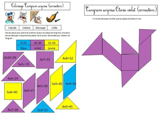 Coloriage tangram magique sur les tables de multiplication for Les multiplications