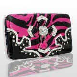 Hot Pink Western Style Cross Wallet with Rhinestones