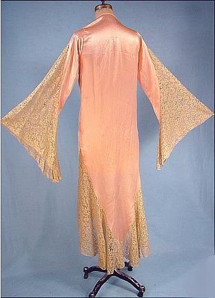 c. 1929 Apricot Silk Satin Dressing Robe