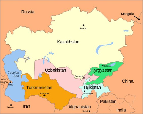Map of Central Asia with surrounding countries in light orange – Asia Map with Capitals and Countries