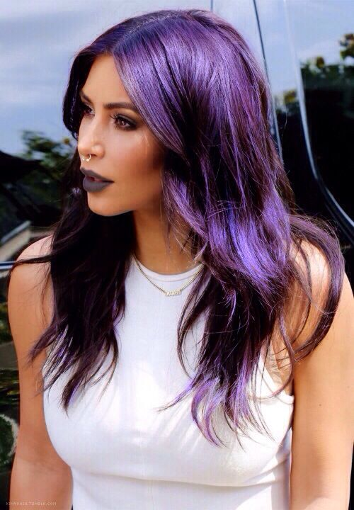 kim kardashian septum nose piercing and purple hair on pinterest. Black Bedroom Furniture Sets. Home Design Ideas