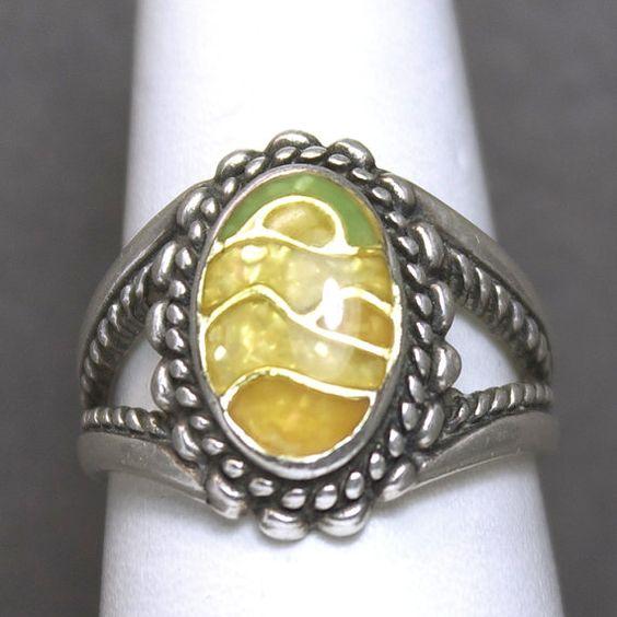 Sterling Silver Landscape Design Enamel Ring by by JMPierceJewelry