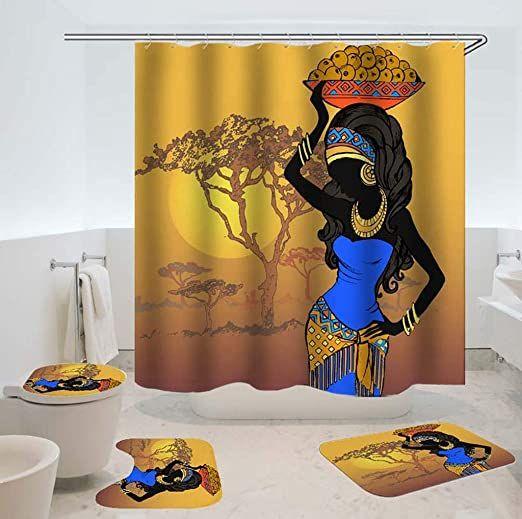 Cute Woman Bathroom Rugs Shower Curtain 4PCS Non-Slip Foot Mat Toilet Lid Cover