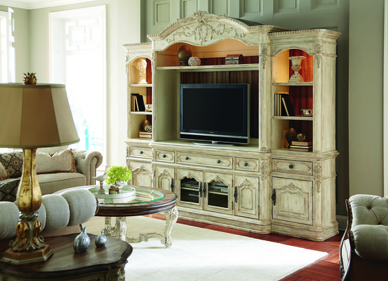 Jessica McClintock - Entertainment w/ Side Piers. A full entertainment unit perfect for housing your tv, electronics, and with plenty of room for putting your favorite pictures or collectibles on display. #americandrew #livingroom #entertainment #jessicamcclintock #whitefurniture