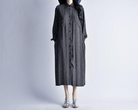 black oversized pinstripe shirt dress / s / m by persephonevintage, $54.00