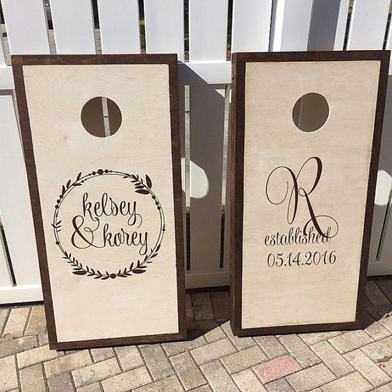 Corn Hole Board Decals  Wedding Decor Rustic  by LuluGirlDesigns