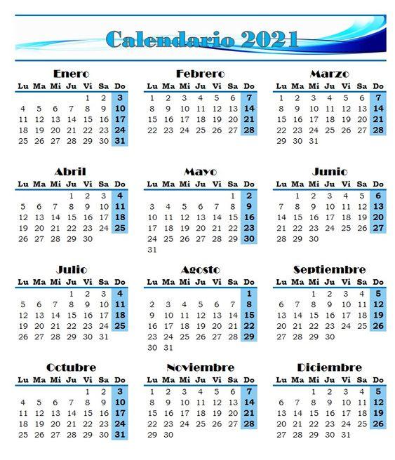 Calendario De 2021 Calendario 2021 | Calendario para imprimir gratis, Calendario para